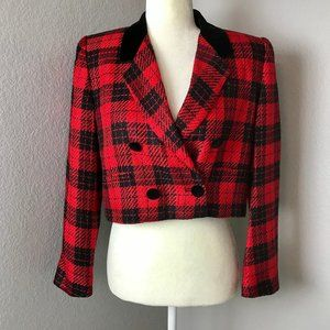 Vintage 90s Cropped Red Plaid Blazer